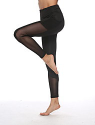 cheap -Women's High Rise Yoga Pants Patchwork 3D Print Black Mesh Running Fitness Gym Workout Bottoms Sport Activewear Breathable Moisture Wicking Butt Lift Tummy Control Stretchy