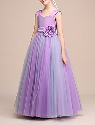 cheap -A-Line Strap Floor Length Tulle Junior Bridesmaid Dress with Appliques / Sash / Ribbon