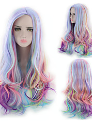 cheap -Synthetic Wig Body Wave Asymmetrical Wig Long Rainbow Synthetic Hair 26 inch Women's Best Quality curling Mixed Color