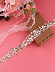 cheap -Satin Wedding / Party / Evening Sash With Belt / Appliques / Crystals / Rhinestones Women's Sashes
