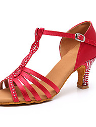 cheap -Women's Latin Shoes Satin Buckle Heel Sparkling Glitter / Buckle / Crystal / Rhinestone Cuban Heel Dance Shoes Black / Brown / Dark Red