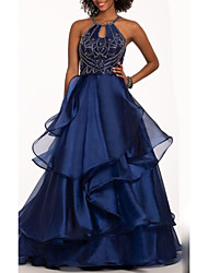 cheap -A-Line Elegant Prom Formal Evening Dress Halter Neck Sleeveless Floor Length Organza Satin with Embroidery 2020
