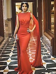 cheap -Mermaid / Trumpet Jewel Neck Sweep / Brush Train Satin Elegant / Red Engagement / Formal Evening Dress with Draping 2020