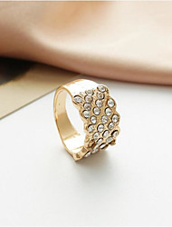 cheap -Women's Band Ring Micro Pave Ring 1pc Gold Silver Rhinestone Alloy Round Stylish Simple Daily Work Jewelry Classic Precious Cool Lovely