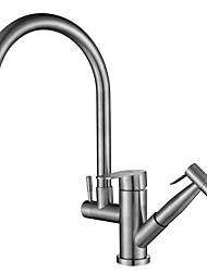 cheap -Kitchen faucet - Two Handles One Hole Electroplated Standard Spout / Tall / High Arc Centerset Contemporary Kitchen Taps