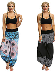 cheap -Women's Dancer Yoga Meditation Masquerade Boho Exotic Dancewear Polyster Blue Black Pants