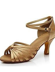 cheap -Women's Latin Shoes Satin Cross Strap Heel Cuban Heel Customizable Dance Shoes Black / Camel