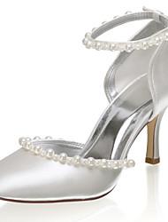 abordables -Femme Chaussures de mariage Talon Aiguille Bout fermé Perle Satin Doux Printemps été / Automne hiver Ivoire / Mariage