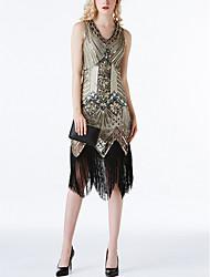 cheap -Dance Costumes 1920s / The Great Gatsby / Flapper Dress Women's Performance Terylene Beading / Tassel / Paillette Sleeveless Dress