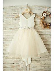 cheap -Ball Gown Knee Length Wedding / Birthday / Pageant Flower Girl Dresses - Satin / Tulle Sleeveless V Neck with Bows / Belt / Beading