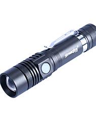 Недорогие -Открытый Горячие продажи USB зарядки T6 Long Shot светодиодные блики фонарик выдвижной ручка клип Открытый мини фонарик