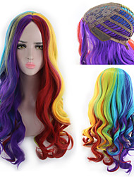 cheap -Synthetic Wig Curly Asymmetrical Wig Long Rainbow Synthetic Hair 27 inch Women's Best Quality Mixed Color