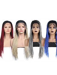 cheap -Synthetic Lace Front Wig Box Braids with Baby Hair Lace Front Wig Ombre Long Ombre Blonde Ombre Grey Black / Red Black / Blue Synthetic Hair 18-24 inch Women's Braided Wig African Braids African