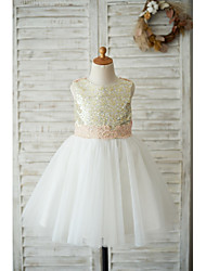 cheap -A-Line Knee Length Flower Girl Dress - Tulle / Sequined Sleeveless Jewel Neck with Appliques / Bows
