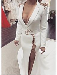 cheap -Sheath / Column Elegant Wedding Guest Engagement Formal Evening Dress V Neck Long Sleeve Sweep / Brush Train Polyester with Sash / Ribbon Beading Split 2021