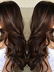 cheap -Synthetic Wig Body Wave Asymmetrical Wig Long Brown Synthetic Hair 25 inch Women's curling Brown