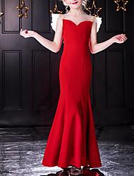 cheap -Mermaid / Trumpet Jewel Neck Floor Length POLY Junior Bridesmaid Dress with Crystals / Ruffles