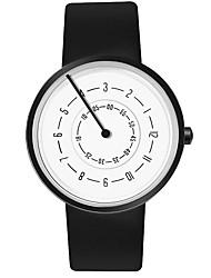 cheap -Men's Sport Watch Quartz PU Leather Black / White No Chronograph Creative New Design Analog New Arrival Fashion - Black Black / White White One Year Battery Life