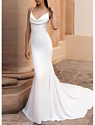 cheap -Mermaid / Trumpet Wedding Dresses V Neck Court Train Satin Spaghetti Strap Plus Size Elegant with Ruched 2020