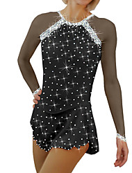 cheap -Figure Skating Dress Women's Girls' Ice Skating Dress Black White Sky Blue Spandex High Elasticity Training Competition Skating Wear Handmade Patchwork Crystal / Rhinestone Long Sleeve Ice Skating