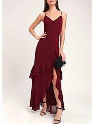 cheap -Sheath / Column Elegant Wedding Guest Prom Formal Evening Dress Spaghetti Strap Sleeveless Floor Length Chiffon with Split Tier 2020