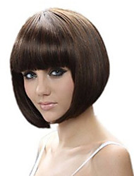 cheap -Synthetic Wig Straight Bob Neat Bang Wig Short Brown Synthetic Hair 13 inch Women's Best Quality Brown