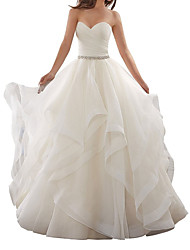 cheap -A-Line Wedding Dresses Sweetheart Neckline Chapel Train Organza Strapless Plus Size with Side-Draped 2020