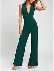 cheap -Jumpsuits Minimalist Engagement Formal Evening Dress V Neck Sleeveless Ankle Length Satin with Criss Cross 2020