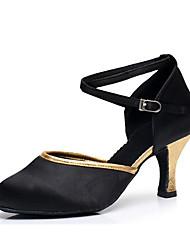 cheap -Women's Modern Shoes / Ballroom Shoes Satin Cross Strap Heel Cuban Heel Customizable Dance Shoes Black / Gold / Black / Red / Performance