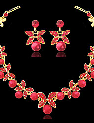 cheap -Women's Pearl Hoop Earrings Choker Necklace Flower Butterfly Earrings Jewelry Silver / Red For Wedding Party 1 set