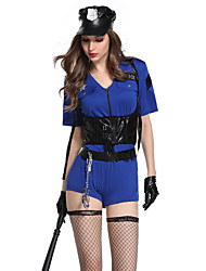 cheap -Women's Police Career Costumes Police Uniforms Sex Cosplay Costume Party Costume Solid Colored Shirt Dress Socks
