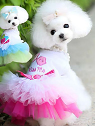 cheap -Dog Cat Dress Solid Colored Princess Princess Romantic Sweet Dog Clothes Blue Pink Costume Polyester Cotton XS S M L XL XXL