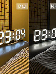 cheap -3D LED Wall Clock Modern Design Digital Table Clock Alarm Nightlight Watch For Home Living Room Decoration