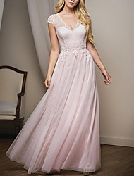 cheap -A-Line Plunging Neck Floor Length Lace / Tulle Bridesmaid Dress with Lace