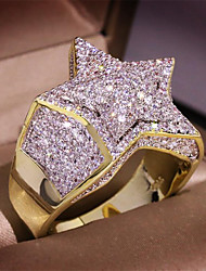 Недорогие -Муж. Кольцо Цирконий 1шт Золотой Серебряный Золотая 2 Латунь Позолота Геометрической формы Мода Повседневные Праздники Бижутерия геометрический Звезда Cool