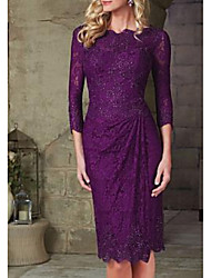 cheap -Sheath / Column Scalloped Neckline Knee Length Lace 3/4 Length Sleeve Plus Size Mother of the Bride Dress with Lace / Beading / Ruching 2020