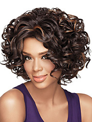 cheap -Synthetic Wig Afro Curly Asymmetrical Wig Short Brown Synthetic Hair 13 inch Women's Best Quality Brown