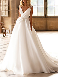 cheap -A-Line Wedding Dresses V Neck Court Train Satin Regular Straps Plus Size with Ruched 2021