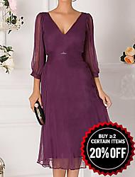 cheap -Women's Cocktail Party Elegant A Line Dress - Solid Colored Off Shoulder Deep V Red M L XL XXL