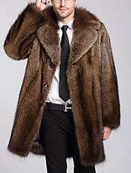 cheap -Men's Daily Long Faux Fur Coat, Solid Colored Turndown Long Sleeve Polyester Brown