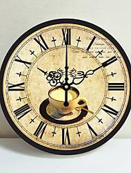 cheap -Mediterranean European rural pastoral retro living room wall clock creative simple decoration mute wall clock 1 pack