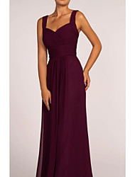 cheap -A-Line Square Neck Floor Length Chiffon Bridesmaid Dress with Ruching