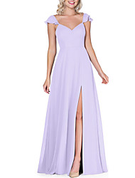 cheap -A-Line Plunging Neck Floor Length Chiffon Bridesmaid Dress with Bow(s) / Split Front / Open Back