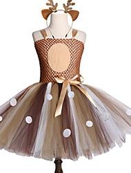 cheap -Kids Girls' Polka Dot Dress Brown