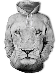cheap -Men's Plus Size Active Long Sleeve Hoodie Lion, Print / 3D Hooded Black S / Winter