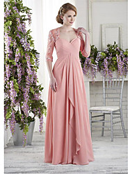 cheap -A-Line Sweetheart Neckline Floor Length Chiffon Half Sleeve Elegant & Luxurious Mother of the Bride Dress with Lace / Ruching 2020