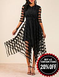 cheap -Women's Elegant Asymmetrical A Line Dress - Solid Colored Shirt Collar Black M L XL XXL