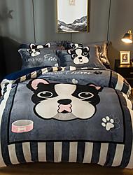 cheap -Gentleman Dog Cartoon Flannel Duvet Cover Set Queen Bedding Cover Set Boys Girls Duvet Comforter Cover Set Luxury Soft Queen Duvet Cover Set