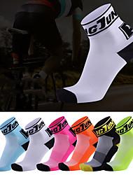 Недорогие -Компрессионные носки Спортивные носки Носки для бега 1 пара Муж. Жен. Носки Носки до щиколотки Дышащий Впитывает пот и влагу Удобный Бег Активное обучение Виды спорта Контрастных цветов Чинлон