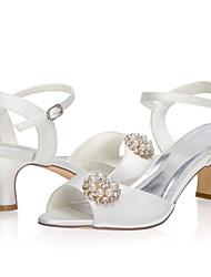 abordables -Femme Chaussures de mariage Talon Bottier Bout ouvert Satin Doux Printemps été / Automne hiver Ivoire / Mariage
